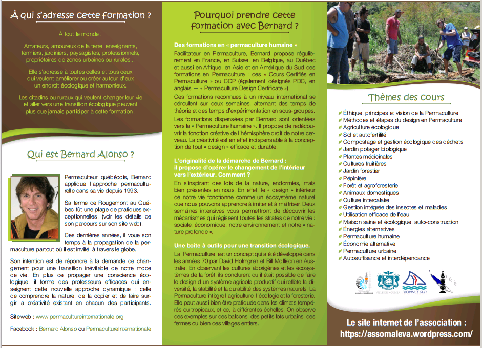 Cours de design certifi de permaculture pdc male 39 va for Cours de design